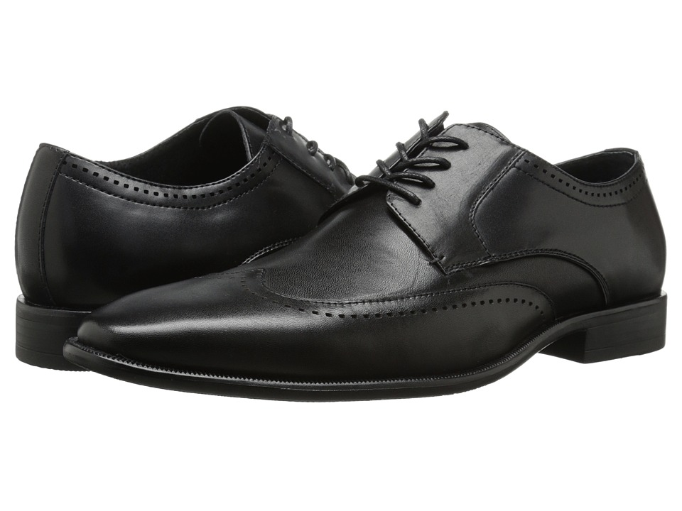 Stacy Adams - Lambert Black Mens Lace Up Wing Tip Shoes $90.00 AT vintagedancer.com