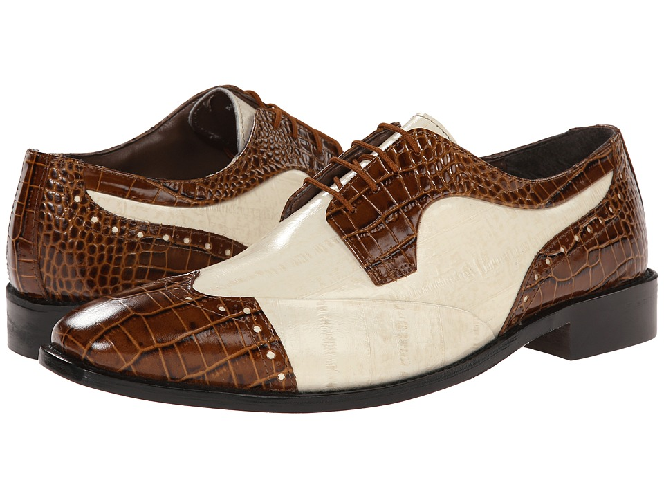 Stacy Adams - Galletti MustardIvory Mens Lace Up Wing Tip Shoes $90.00 AT vintagedancer.com