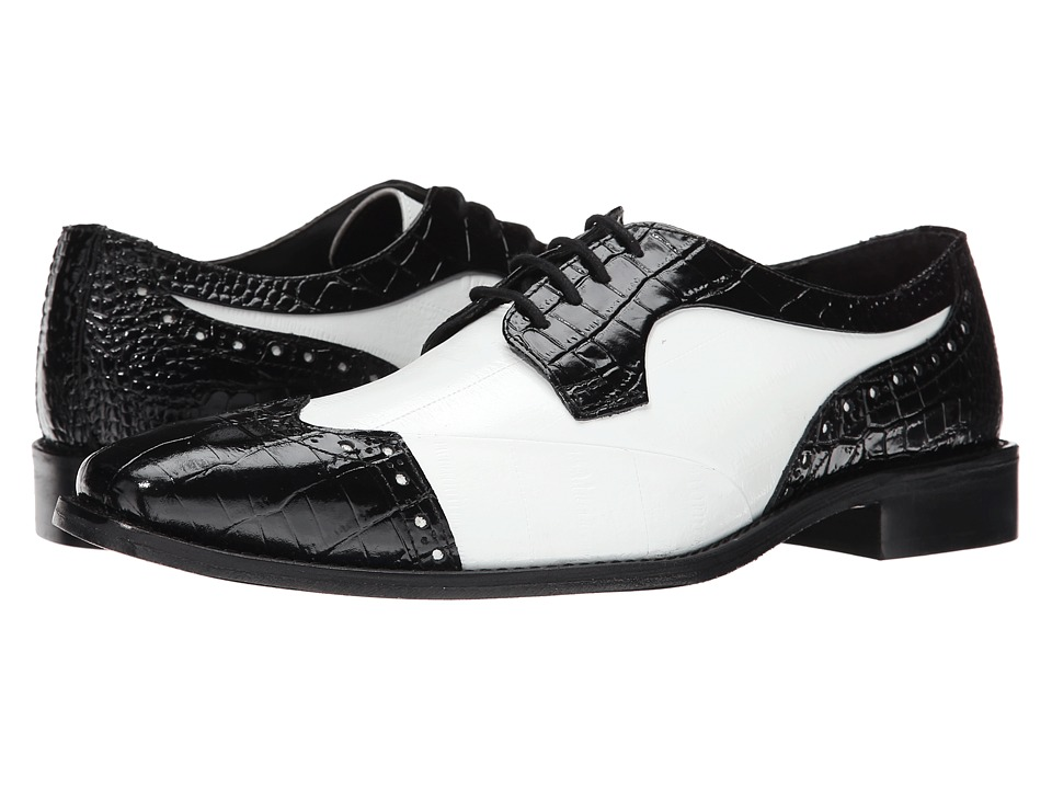 Stacy Adams - Galletti BlackWhite Mens Lace Up Wing Tip Shoes $90.00 AT vintagedancer.com