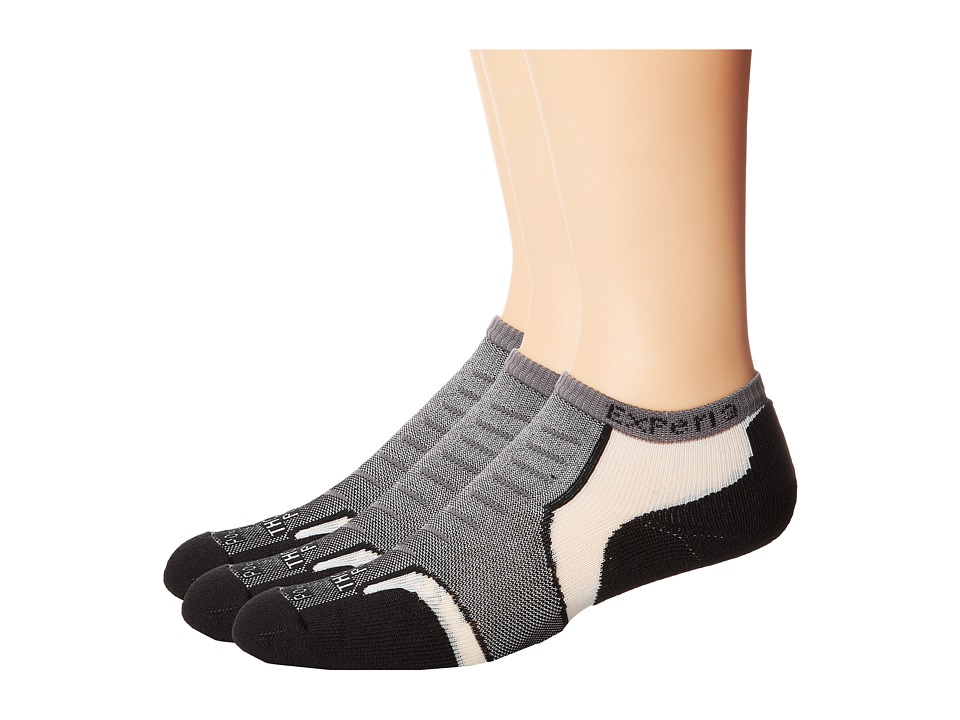 Thorlos Experia Jet Micro Mini 3 Pair Pack Jet Grey No Show Socks Shoes