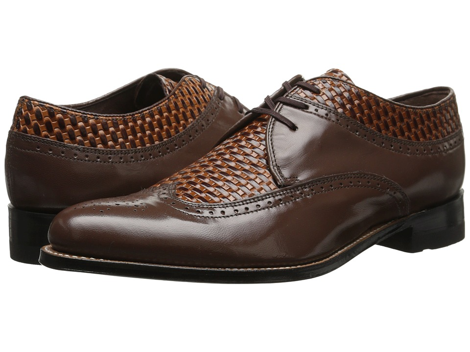 Stacy Adams - Dayton BrownTan Mens Lace Up Wing Tip Shoes $125.00 AT vintagedancer.com