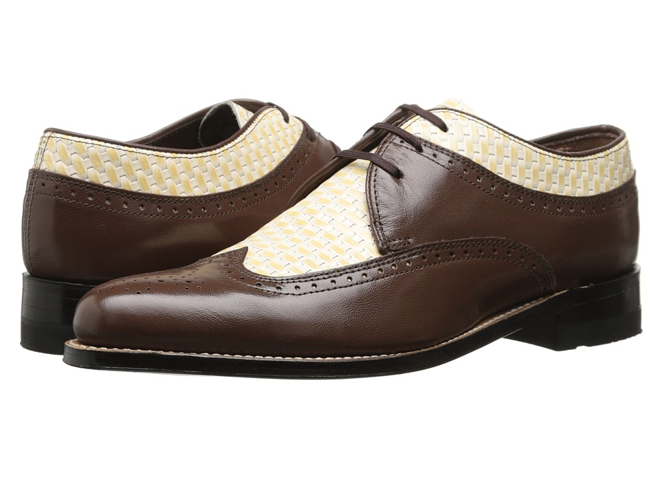 Stacy Adams - Dayton BrownIvory Mens Lace Up Wing Tip Shoes $125.00 AT vintagedancer.com