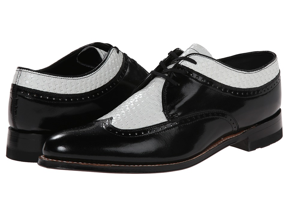 Mens Vintage Style Shoes| Retro Classic Shoes Stacy Adams - Dayton BlackWhite Mens Lace Up Wing Tip Shoes $130.00 AT vintagedancer.com