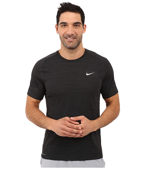 Nike Dry Miler Short Sleeve Running Top - Black Pine/Black/Reflective Silver
