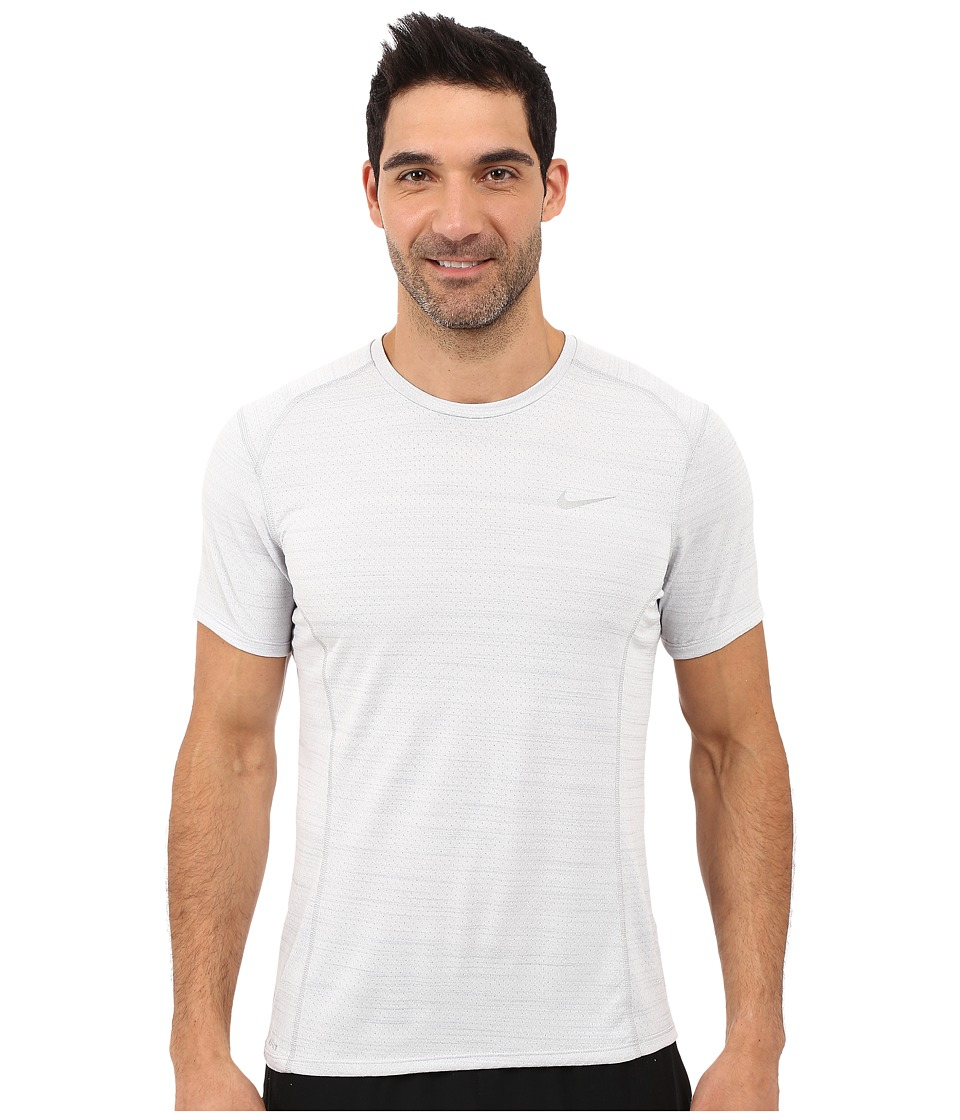 Nike Dry Miler Short Sleeve Running Top (White/Wolf Grey/Reflective Silver) Men