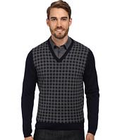Thomas Dean & Co. - L/S V-Neck Sweater w/ Check Front Detail