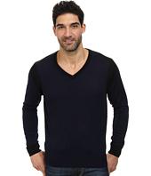 Thomas Dean & Co. - Long Sleeve V-Neck Color Block Sweater