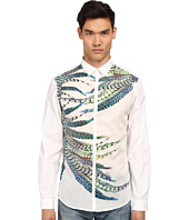 Just Cavalli - Placed Feather Print Silk Panel Front Shirt Button Up
