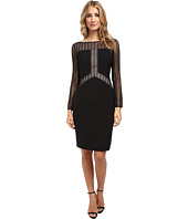 Maggy London - Crepe Long Sleeve Dress w/ Blocked Lace Detail Dress