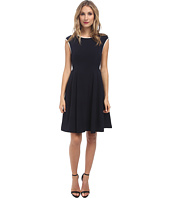 Maggy London - Crepe Fit & Flare w/ Neck Piping Dress