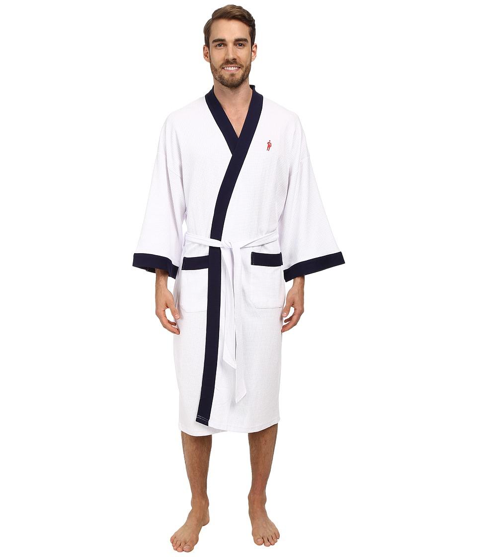 JOCKEY Waffle Kimono (White with Navy Trim) Men's Robe