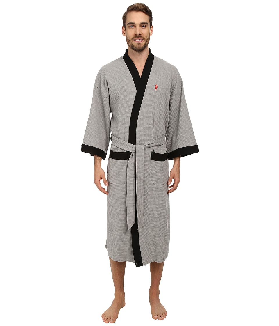 Jockey Waffle Kimono Heather Grey with Black Trim Mens Robe