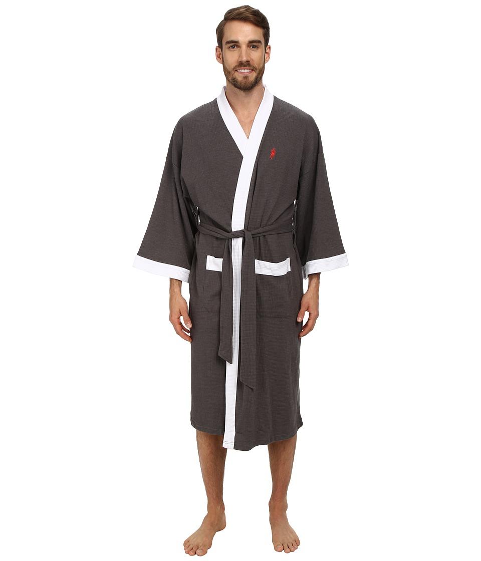 Jockey Waffle Kimono Charcoal Heather Grey with White Trim Mens Robe