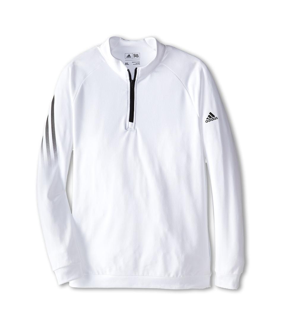 adidas Golf Kids 3 Stripe 1/2 Zip Big Kids White Boys Long Sleeve Pullover