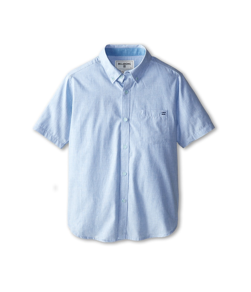 Billabong Kids All Day S/S Woven Big Kids Light Blue Boys Short Sleeve Button Up