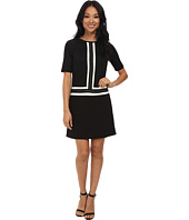 Maggy London - Color Block Novelty Shift w/ Chain Detail Dress