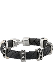 King Baby Studio - Small Braided Leather Bracelet w/ MB Cross Stations and Square Hook Clasp