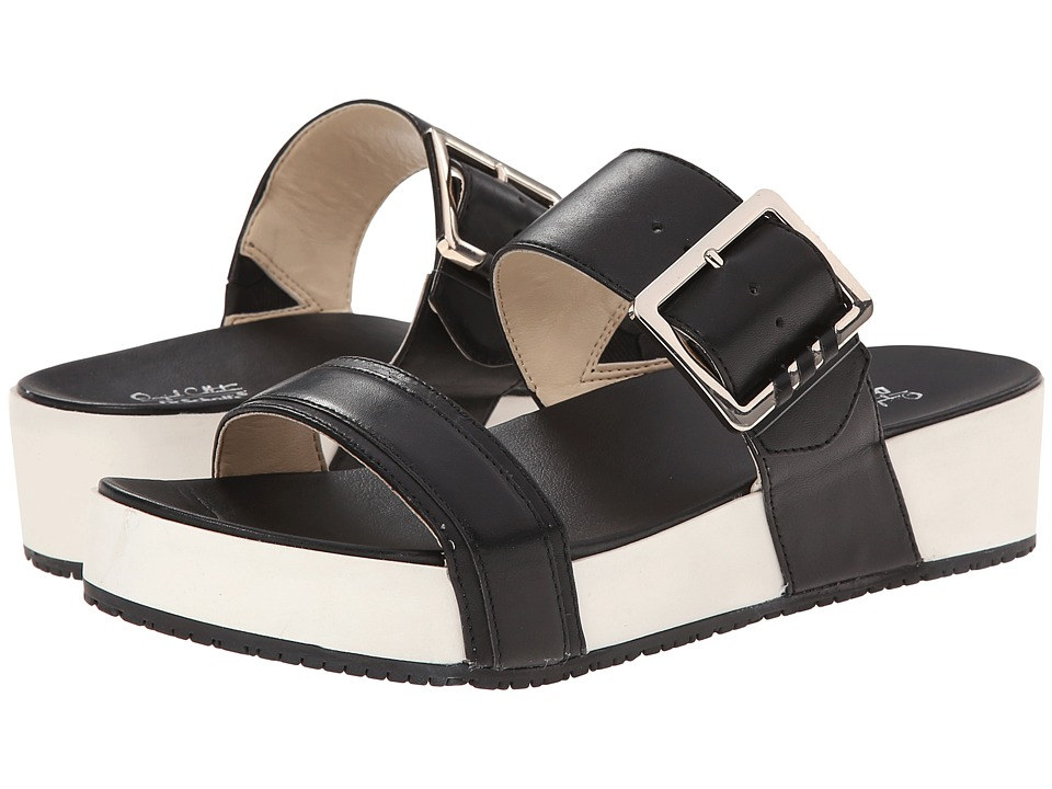 Dr. Scholls Frill Original Collection Black Leather Womens Sandals