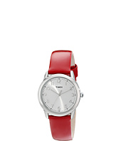 Timex - Dress Silver/White Dial/Red Patent Leather Strap Watch