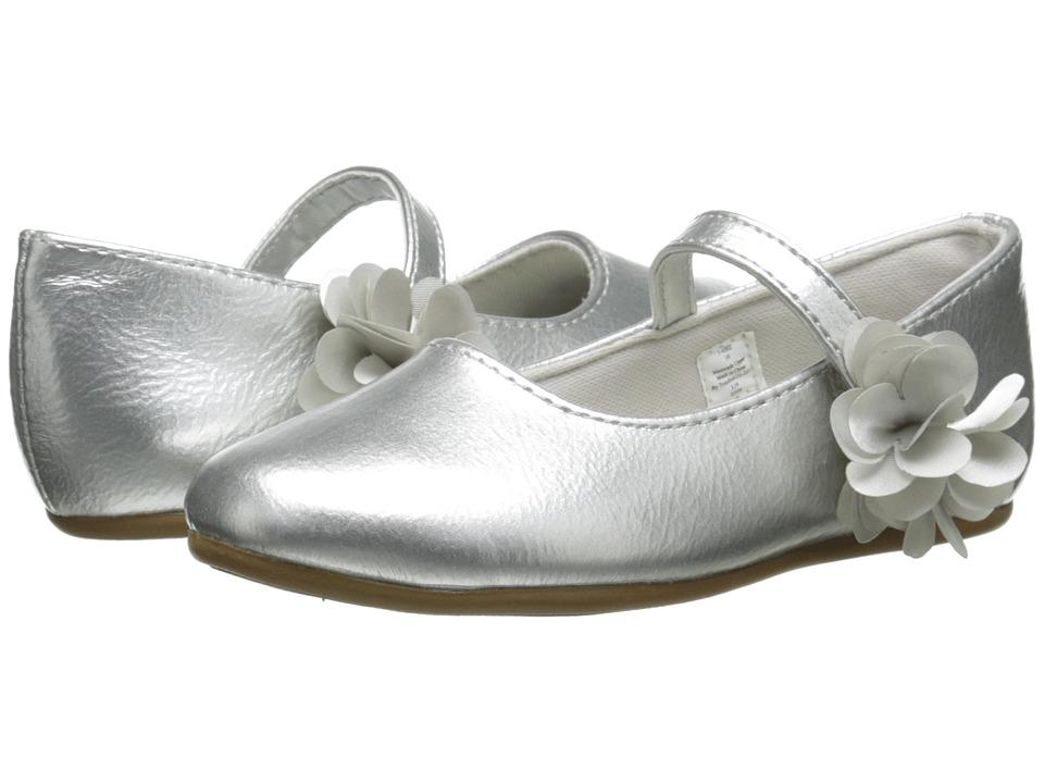 Baby Deer Patent Skimmer Walker Sole Infant/Toddler Silver Girls Shoes