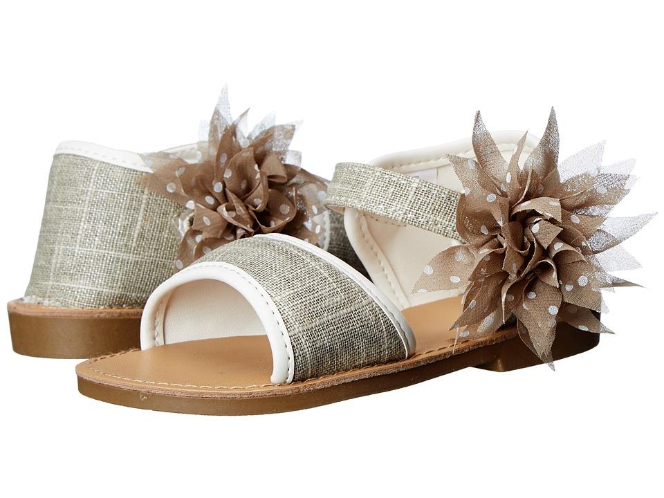 Baby Deer Linen Walking Sole Sandal Infant/Toddler Khaki Girls Shoes