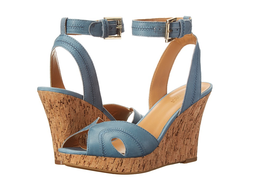 Shop Nine West online and buy Nine West Braveit Blue Leather Womens Wedge Shoes online