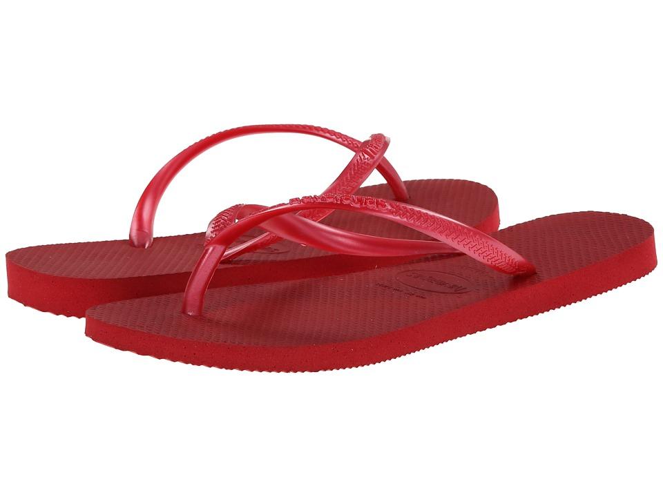 Havaianas Slim Flip Flops (Red) Women