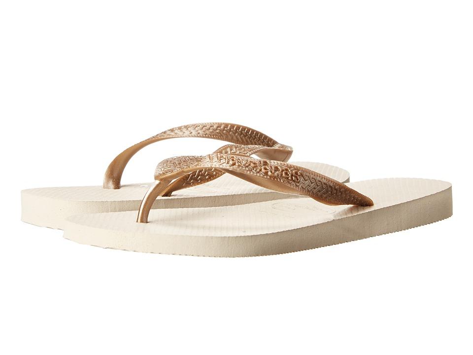 Havaianas Top Metallic Flip Flops Beige Womens Sandals