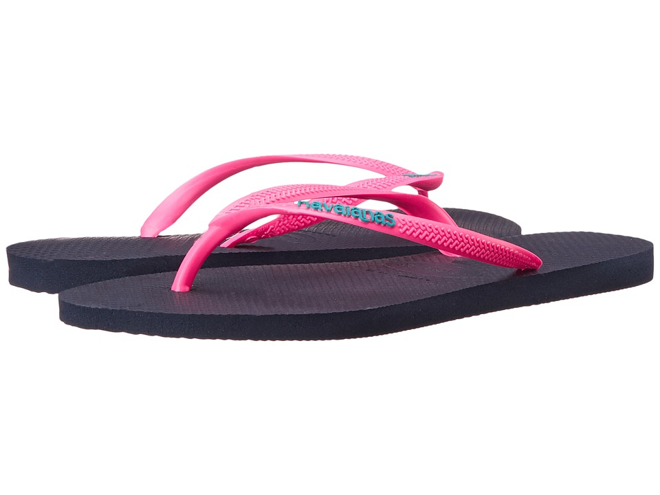 Havaianas Slim Logo Pop Up Flip Flops Navy Blue/Pink Womens Sandals