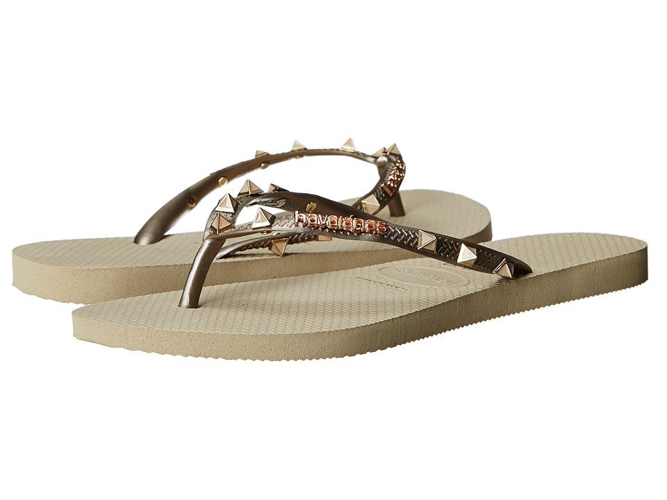 Havaianas Slim Hardware Flip Flops Sand Grey Womens Sandals
