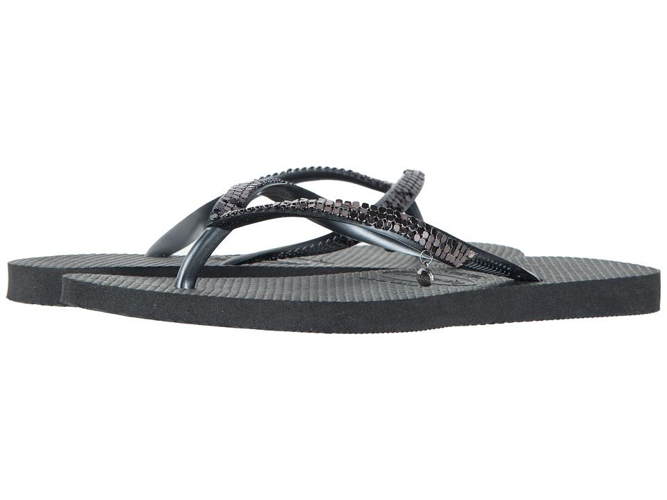 Havaianas Slim Metal Mesh Flip Flops Black/Dark Grey Womens Sandals