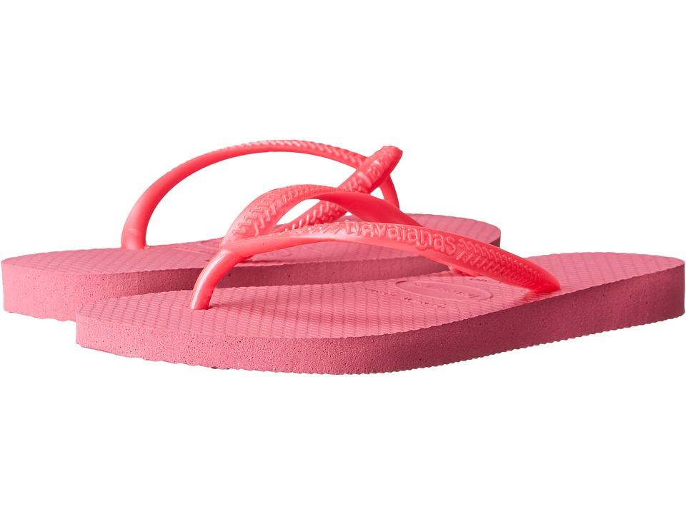 Havaianas Kids Slim Flip Flops Toddler/Little Kid/Big Kid Shocking Pink Girls Shoes