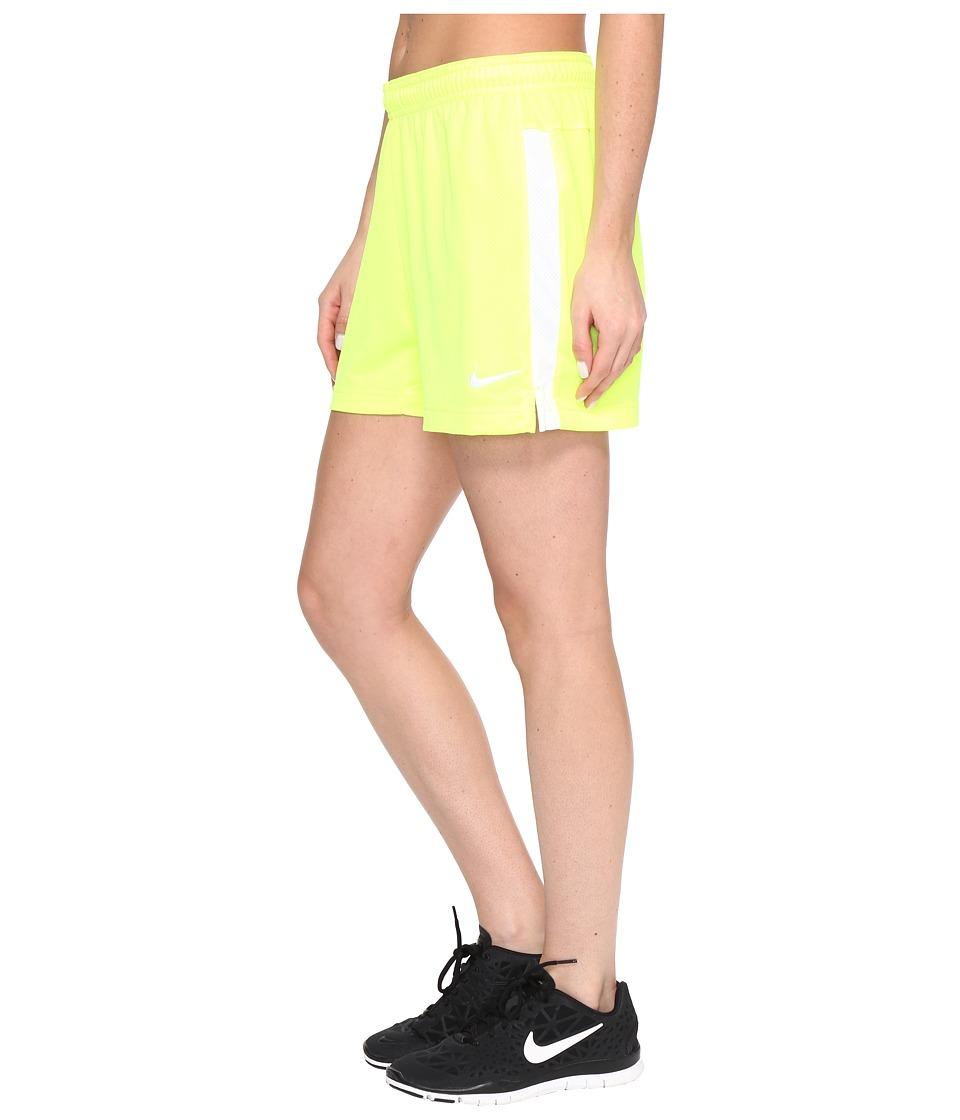 Nike Dri-FIT Academy Knit Shorts (Volt/White/White) Women