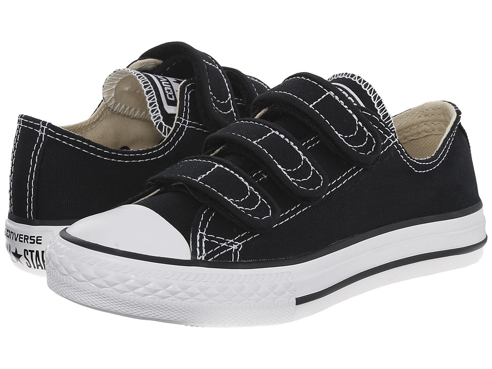 Converse Kids Chuck Taylor All Star 3 Strap (Little Kid) (Black) Kids Shoes