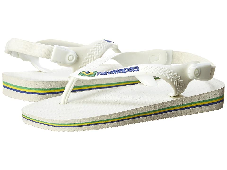 Havaianas Kids Baby Brasil Logo Flip Flops Toddler White/White Boys Shoes