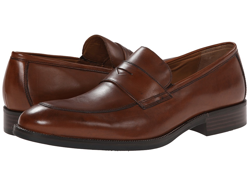 Johnston amp Murphy Beckwith Penny Tan Calfskin Mens Slip on Dress Shoes