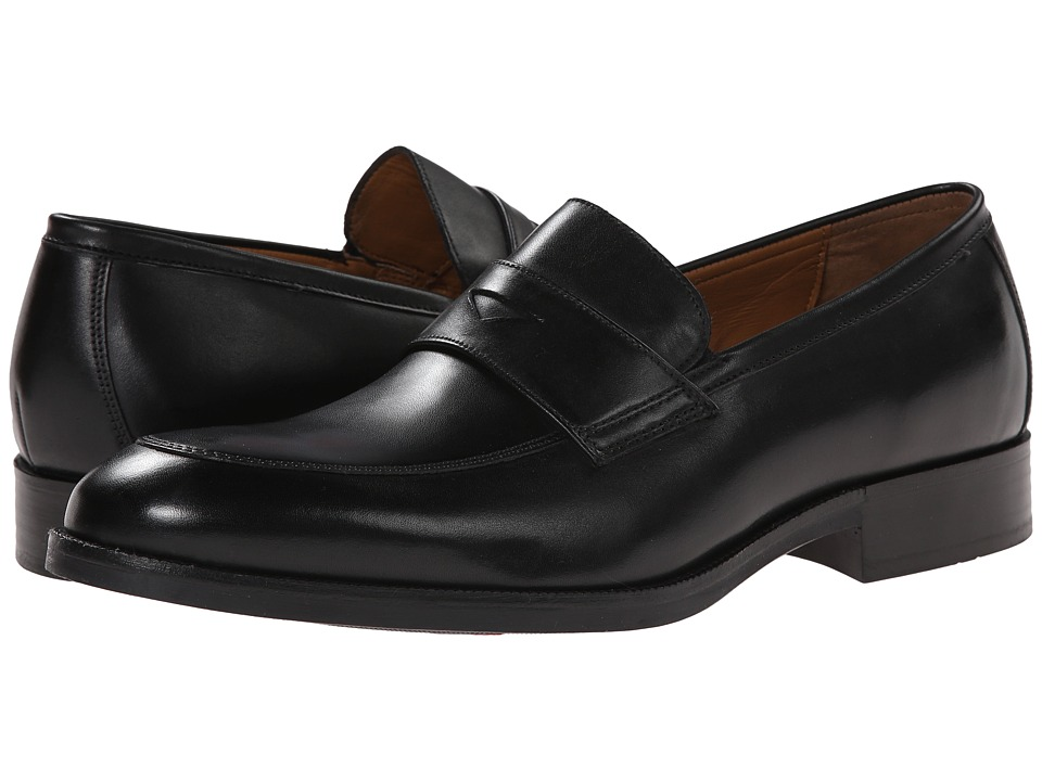 Johnston amp Murphy Beckwith Penny Black Calfskin Mens Slip on Dress Shoes