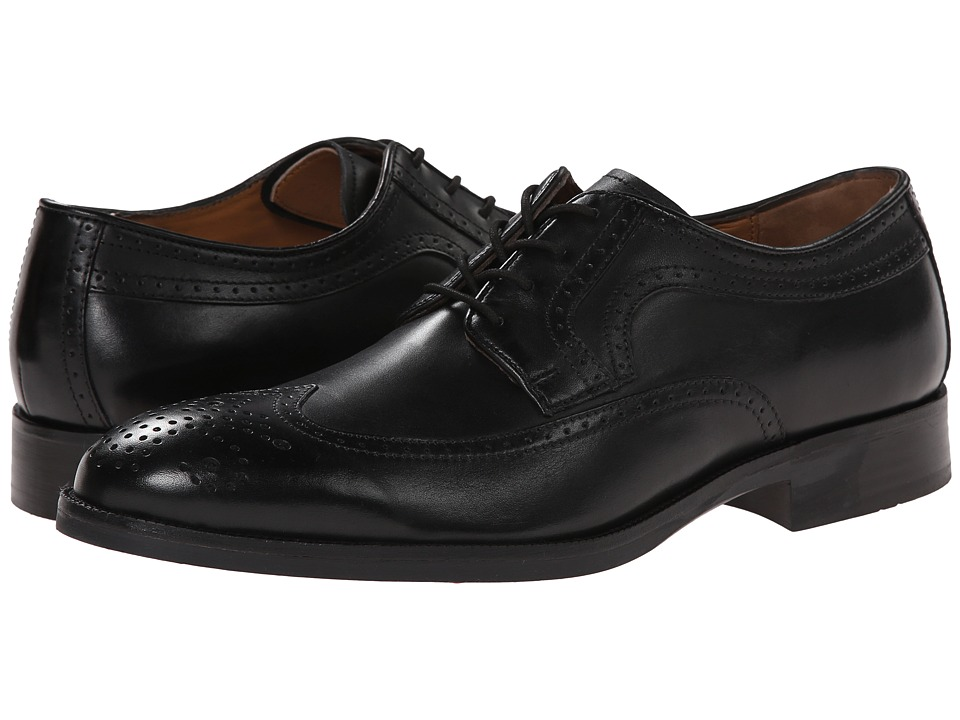 Johnston amp Murphy - Beckwith Wingtip Black Calfskin Mens Lace Up Wing Tip Shoes $135.00 AT vintagedancer.com