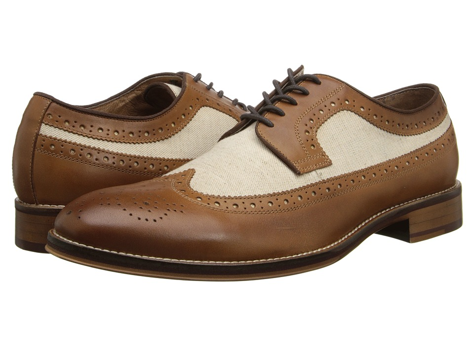 1940s Style Mens Shoes Johnston amp Murphy - Conard Wingtip Tan CalfskinBeige Linen Mens Lace Up Wing Tip Shoes $110.99 AT vintagedancer.com