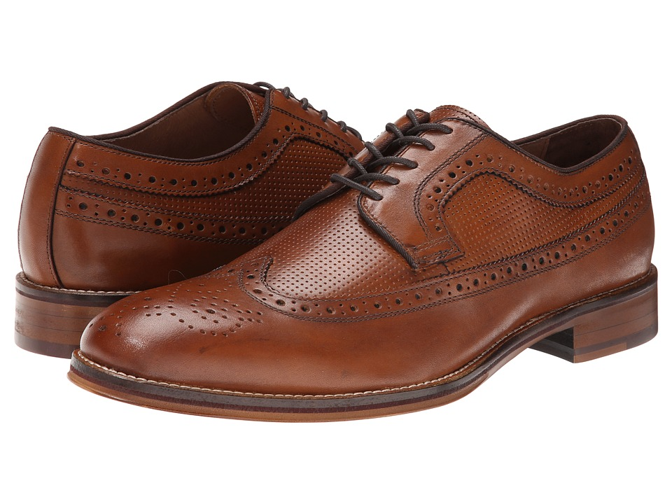 1920s Style Mens Shoes Johnston amp Murphy - Conard Wingtip Tan Calfskin Mens Lace Up Wing Tip Shoes $155.00 AT vintagedancer.com