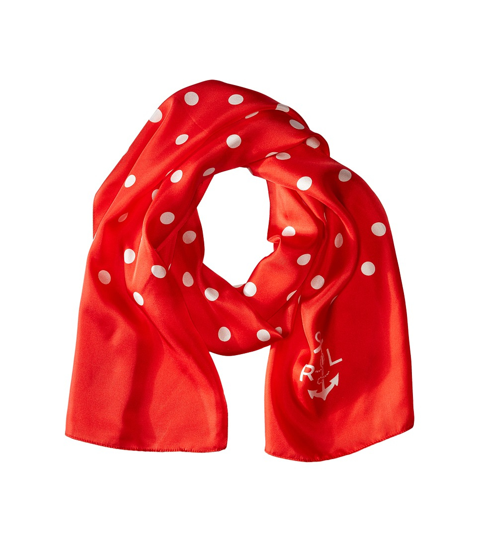LAUREN by Ralph Lauren - Catalina Silk Twill Scarf Bistro Red Scarves $42.00 AT vintagedancer.com