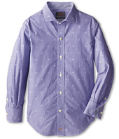 Thomas Dean & Co. Kids - Blue Embroidered Stripe L/S Woven Shirt (Little Kids)