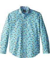 Thomas Dean & Co. Kids - Blue Car Print L/S Woven Shirt (Big Kids)