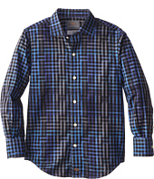 Thomas Dean & Co. Kids - Cobalt Modern Check L/S Woven Shirt (Little Kids)