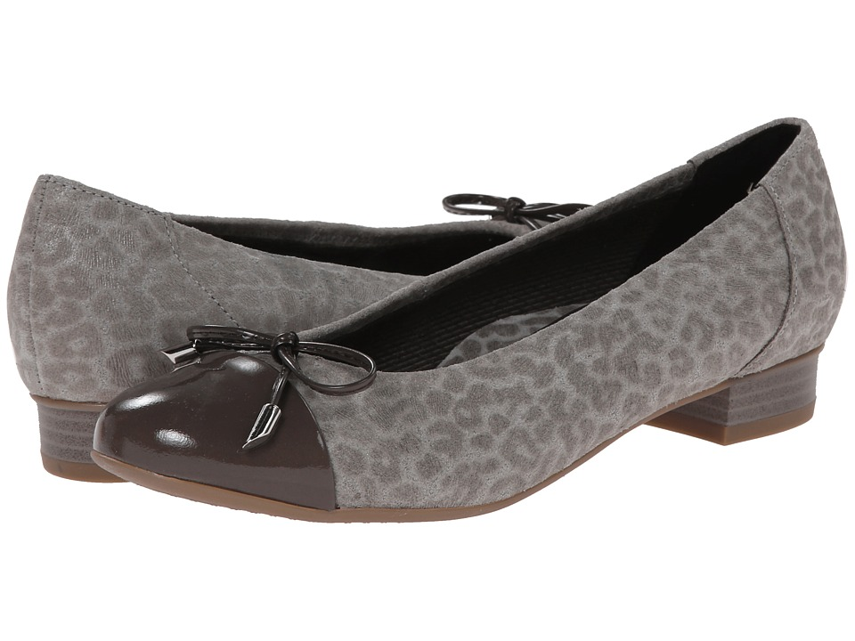 ara Bria Grey Leoskin/Grey Patent Toe Womens Flat Shoes