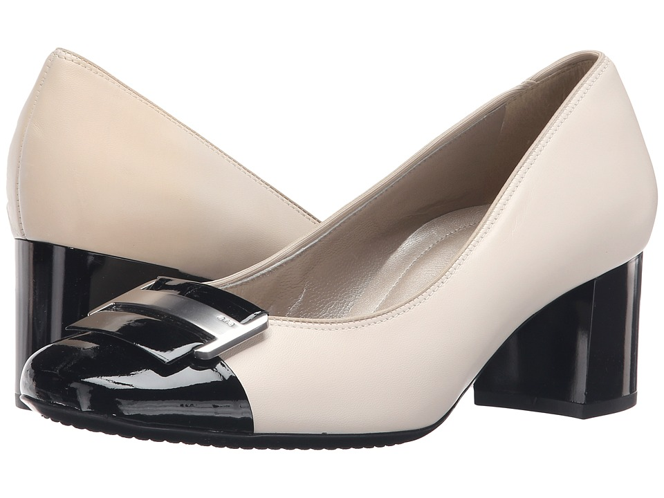 ara Luna (Cream Leather/Black Patent Toe) High Heels