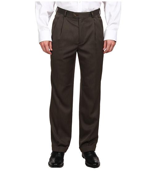 Perry Ellis Portfolio Classic Fit Double Pleat Micro-Melange Pant - Fir