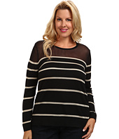 Vince Camuto Plus - Plus L/S Crew Neck Engineered Striped Sweater