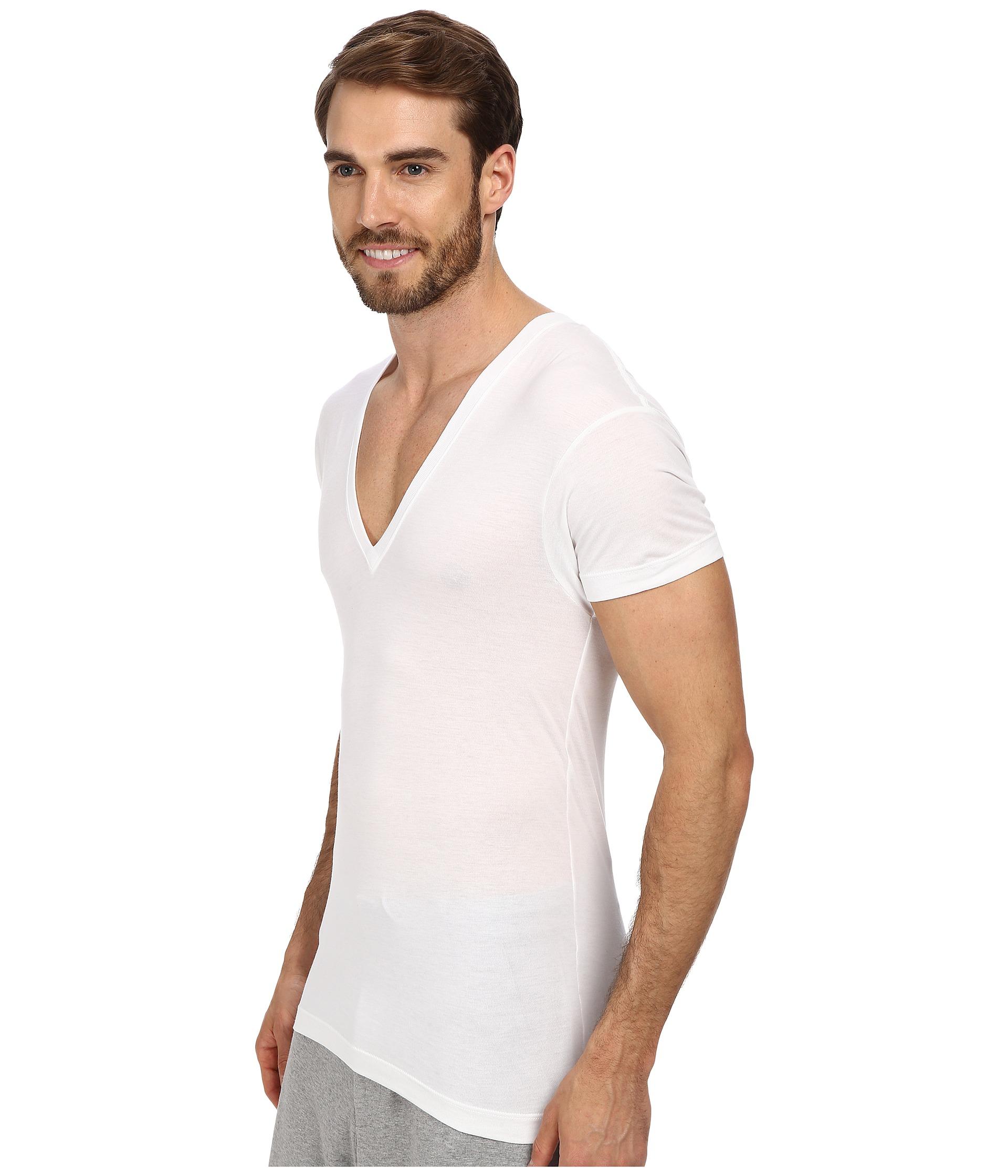 2 x ist pima slim fit deep v neck t shirt at for Slim v neck t shirt