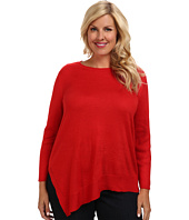 Vince Camuto Plus - Plus L/S Boatneck Sweater w/ Asymmetrical Hem